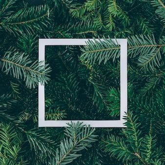 Creatieve lay-out gemaakt van kerstboomtakken met papieren kaartnota. plat leggen. natuur nieuwjaar concept.