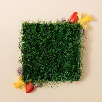 Creatieve lay-out gemaakt van lente gras en bloemen met kopie ruimte