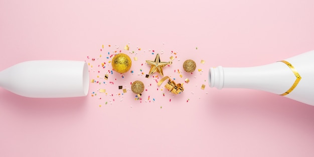 Creatieve lay-out met champagnefles en champagneglas.