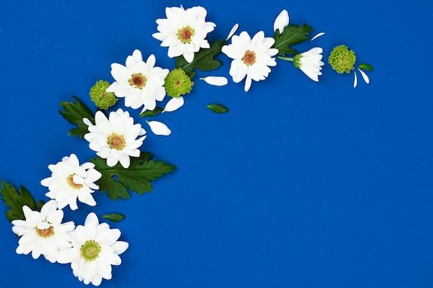 Creatieve lay-out met witte bloemen en groene bladeren op een blauwe ruimte. lente concept. plat lag, bovenaanzicht.