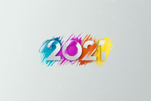 Creatieve luxe 2021 veelkleurige letters op lichte achtergrond.