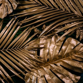 Creatieve natuurachtergrond goud en groen tropisch monstera en palmbladeren