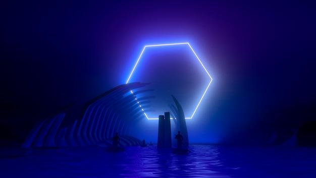 Creatieve neon gloeiende achtergrond met roze blauwe levendige violette neonlichten, concept milieuvervuiling.
