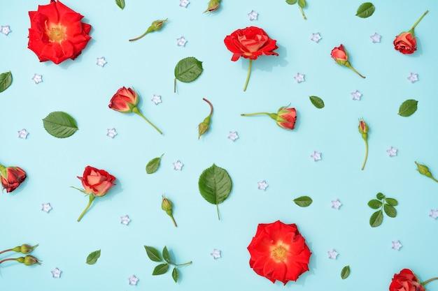 Creatieve opstelling van rode bloemen en bladeren op pastelblauw.