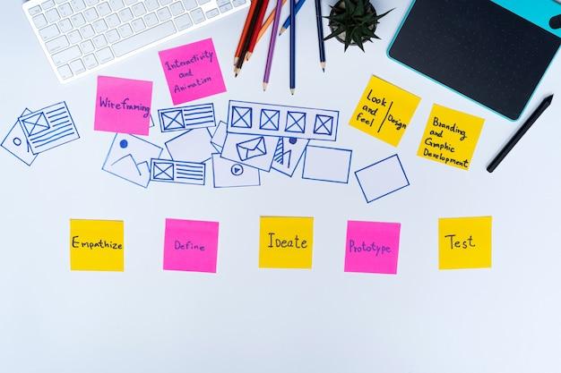 Creatieve platte lay-out bovenaanzicht foto van ux designer werkruimte en kantoorbenodigdheden