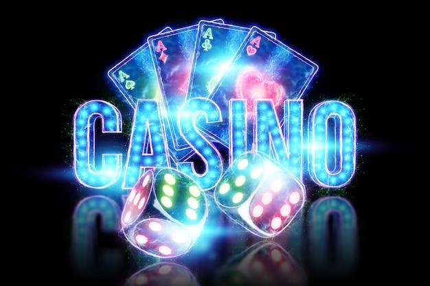 Creatieve pokersjabloon, neon speelkaarten en dobbelstenen ontwerp op donkere achtergrond. casinoconcept, gokken, koptekst voor de site. kopieer de ruimte, 3d illustratie, 3d render.