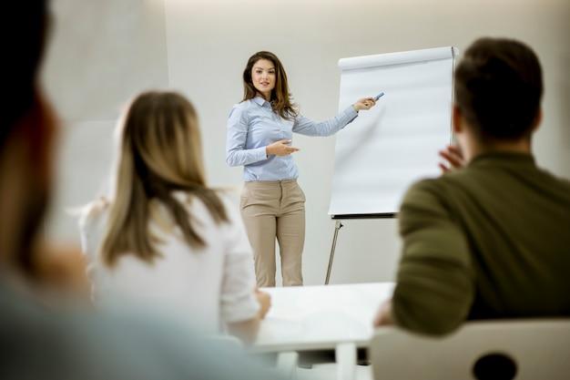 Creatieve positieve vrouwelijke leider die over businessplan met studenten tijdens workshop spreekt