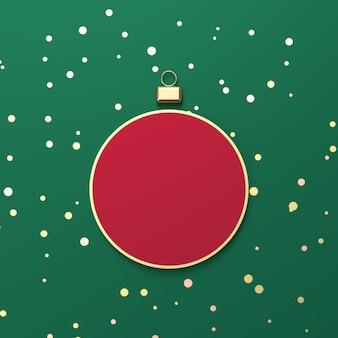 Creatieve rode kerstbal voor productvertoning. 3d kerst achtergrond. bovenaanzicht. plat leggen.