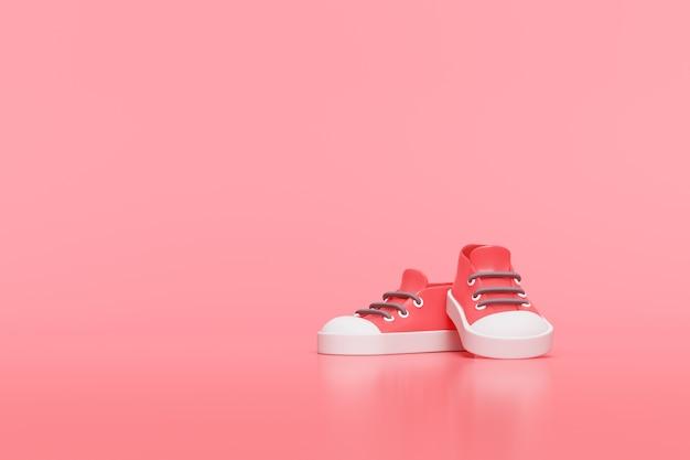 Creatieve rode schoen, 3d-rendering.