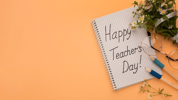 Creatieve samenstelling van elementen voor de dag van de leraar