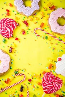 Creatieve snoepjes lay-out, dessert concept
