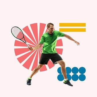 Creatieve sport en geometrische stijl. tennisser in actie, beweging op roze achtergrond. negatieve ruimte om uw tekst of advertentie in te voegen. modern ontwerp. eigentijdse kleurrijke en heldere kunstcollage.