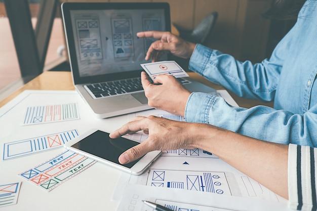 Creative web designer planningsapplicatie en ontwikkeling van sjabloonlay-out