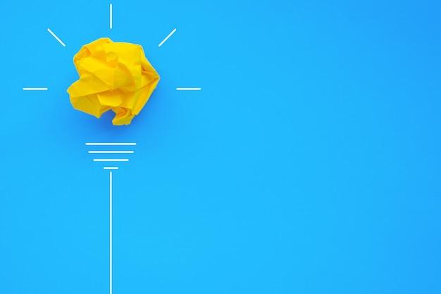 Creativiteit inspiratie ideeën concepten met gloeilamp van papier verfrommeld bal op kleur achtergrond
