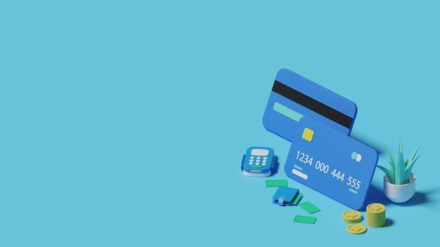 Creditcard betaling 3d illustratie concept. premium foto