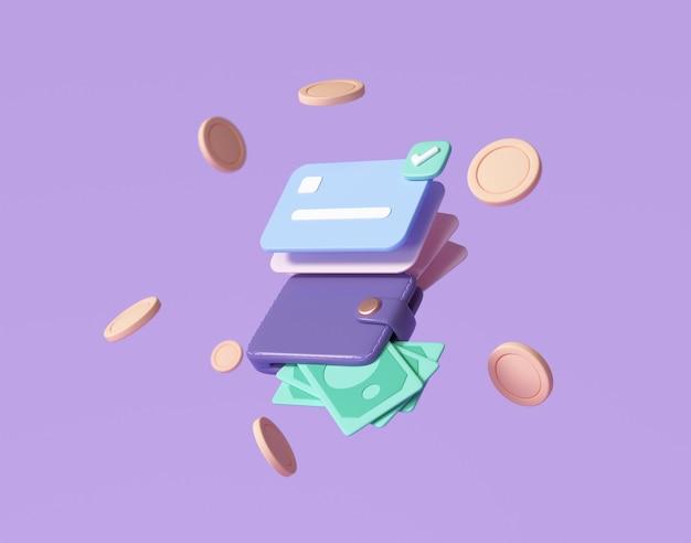 Creditcard en bankbiljetten, zwevende munten rond op paarse achtergrond. geldbesparende, geldloze samenleving concept. 3d render illustratie