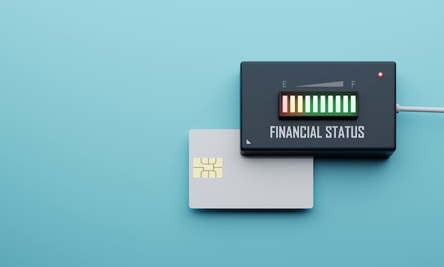 Creditcard financiële status balans controle apparaat op blauwe achtergrond. bedrijfseconomie en investeringsconcept. cashflow elektronische indicator machinethema. 3d-weergave