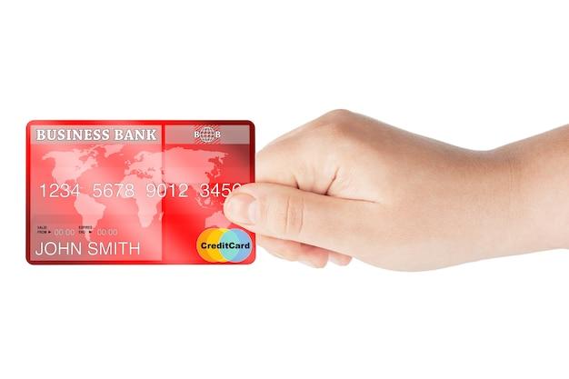 Creditcard in de hand op een witte achtergrond
