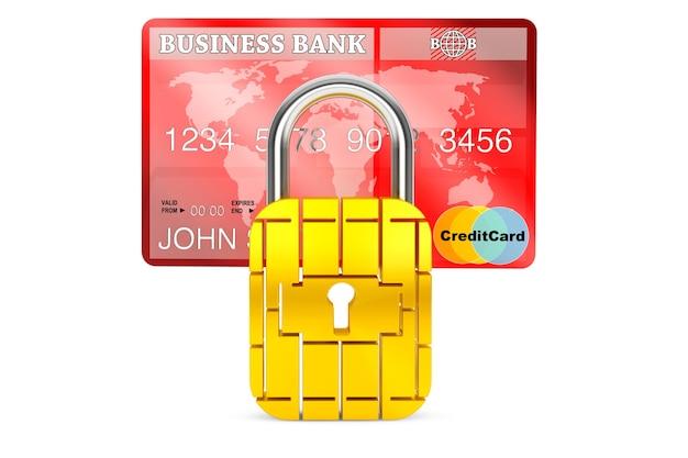 Creditcard met beveiligingschip als hangslot op een witte achtergrond