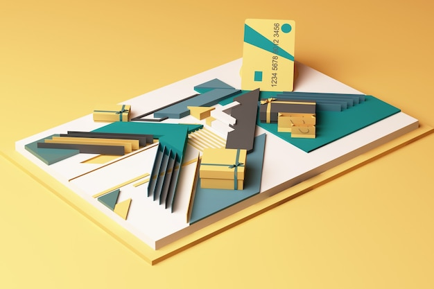 Creditcard met geschenkdoos concept abstracte compositie van geometrische vormen platforms in gele en groene toon. 3d-weergave