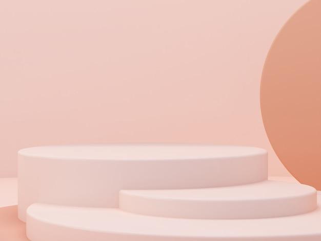 Crème kleuren vormen op pastel kleuren abstracte achtergrond. minimaal cilinderpodium. scène met geometrische vormen. lege vitrine voor presentatie van cosmetische producten. mode tijdschrift. 3d render.
