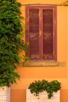 Crèmekleurige muur met venster en bloemen