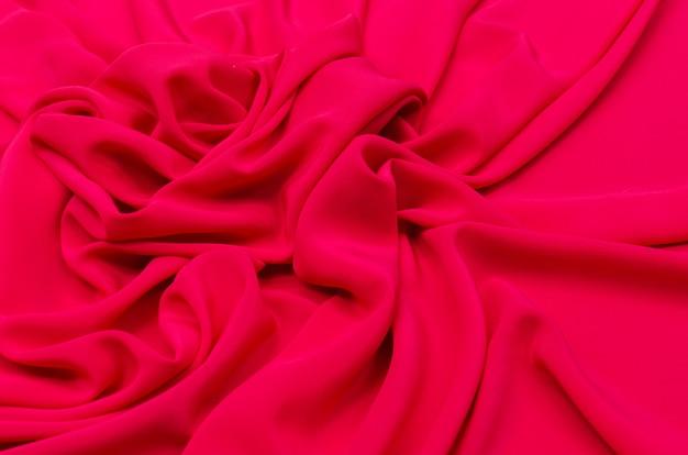 Crêpe de chine zijde stof van rood-roze
