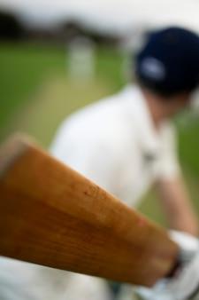 Cricketspeler op het veld in actie