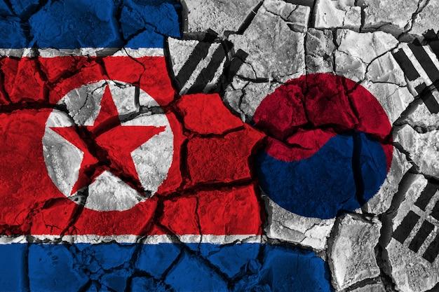 Crisis en verwarringsconcept zuid-korea en noord-korea