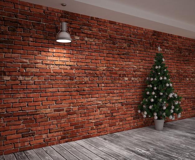 Cristmas banner op muur met kerstboom