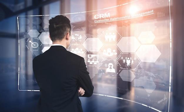 Crm customer relationship management voor bedrijfsverkoopmarketsysteemconcept