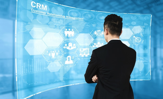 Crm customer relationship management voor business sales marketing systeemconcept business