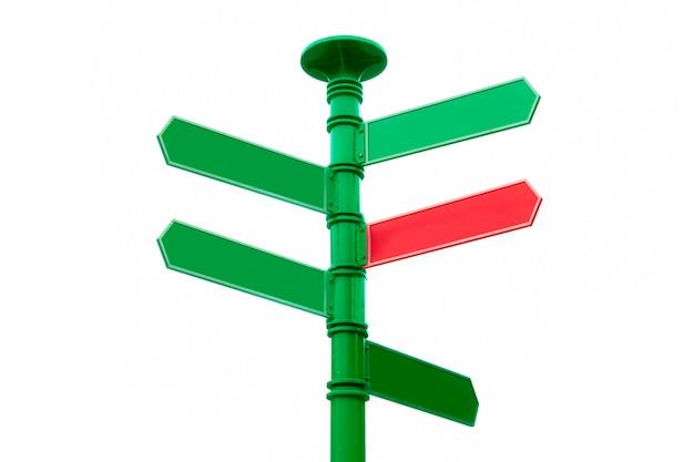 Crossroad wegwijzer, wegwijzer tegenovergestelde richtingen. leeg voor kopie ruimte.