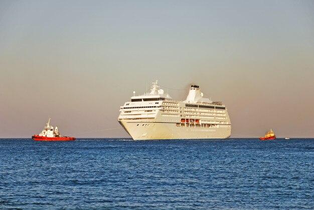 Cruiseschip en twee sleepboten