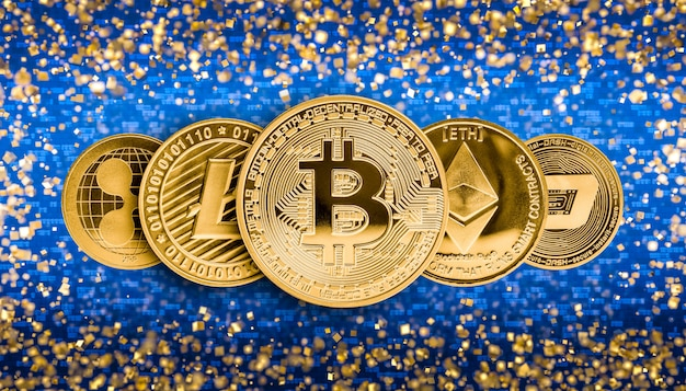 Crypto valuta 3d achtergrond