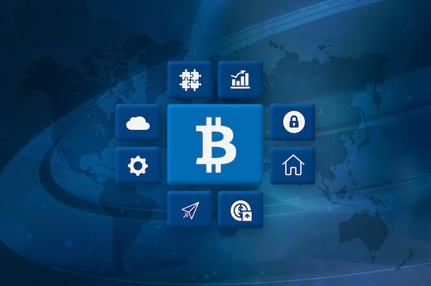 Cryptocurrency bitcoin block chain mining foto
