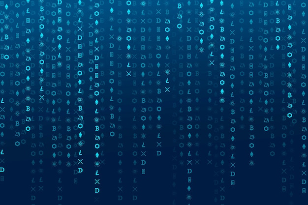 Cryptocurrency codering digitale blauwe achtergrond open-source blockchain concept