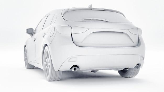 Cty auto met blanco oppervlak voor uw creatieve ontwerp. 3d-weergave.