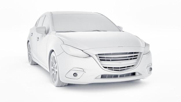 Cty auto met leeg oppervlak voor uw creatieve ontwerp 3d-rendering