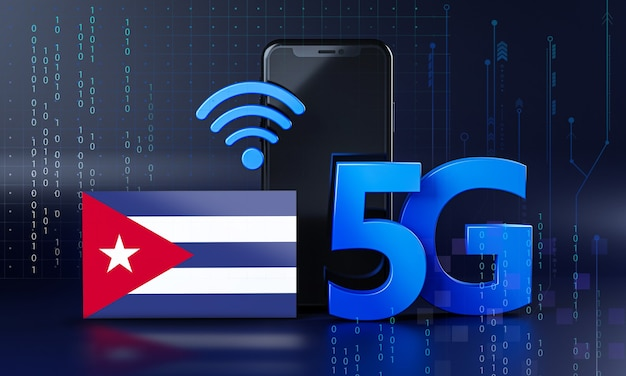 Cuba klaar voor 5g-verbindingsconcept. 3d-rendering smartphone technische achtergrond