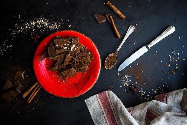 Culinair concept met verschillende soorten chocolade