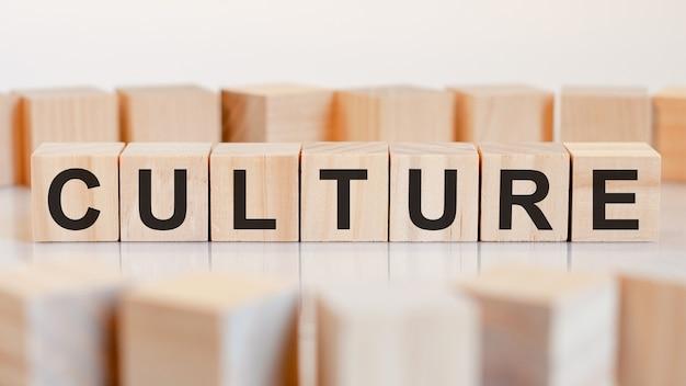 Cultuur - houten letters op het bureau, witte achtergrond, bedrijfsconcept