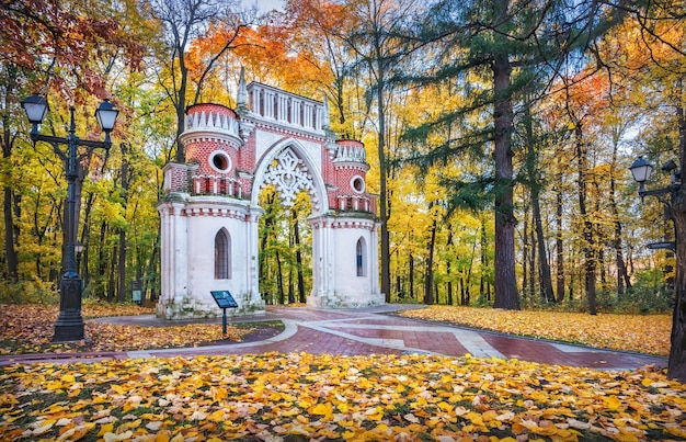 Curly grape gate in tsaritsyno park in moskou tussen gouden herfstbomen in de ochtendzon