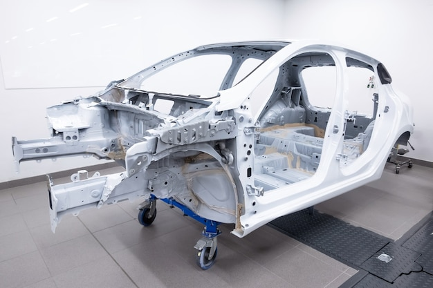 Custom car frame gebouwd in werkplaats.