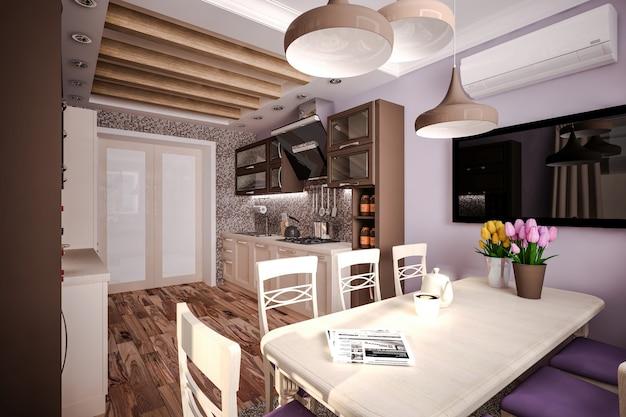 Custom kitchen 3d-model keuken in huis