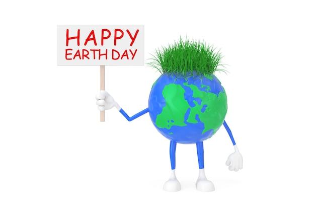 Cute cartoon toy plasticine clay earth globe persoon karakter met happy earth day banner op een witte achtergrond. 3d-rendering