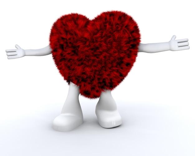 Cute harige hart karakter