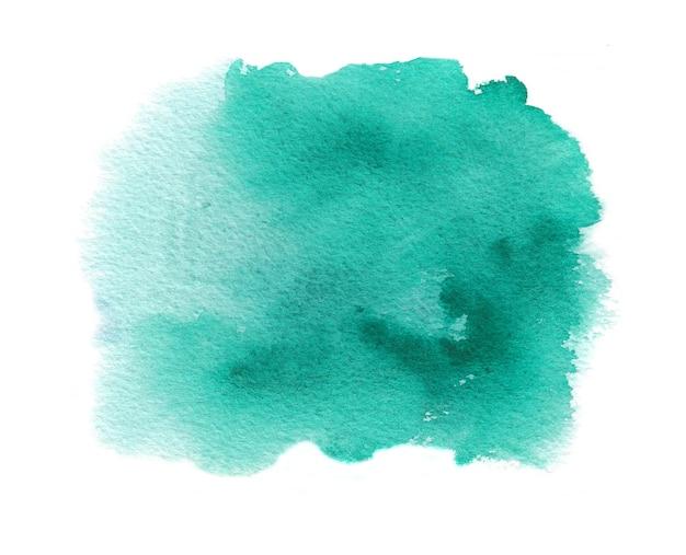 Cyaan aquarel textuur vlek met aquarel splash, penseelstreken