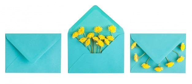 Cyaan envelop en gele chrysant