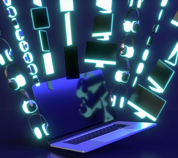 Cyber maandag evenementpictogram met apparaten